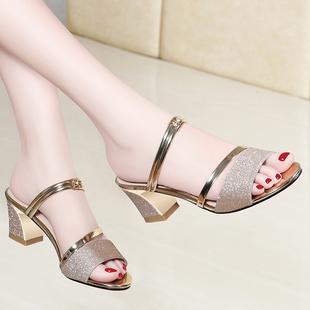 夏季中粗跟鱼嘴拖鞋罗马女鞋