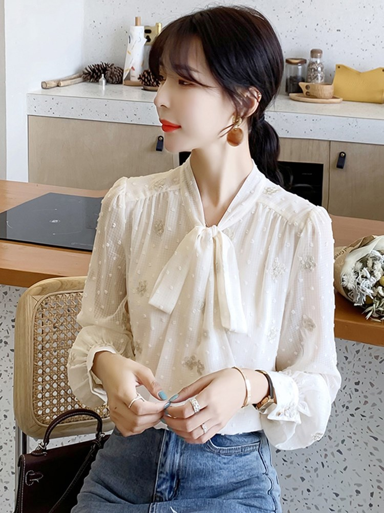 Bowknot chiffon shirt long sleeve womens spring dress 2021 new fashion versatile foreign style embroidered style top