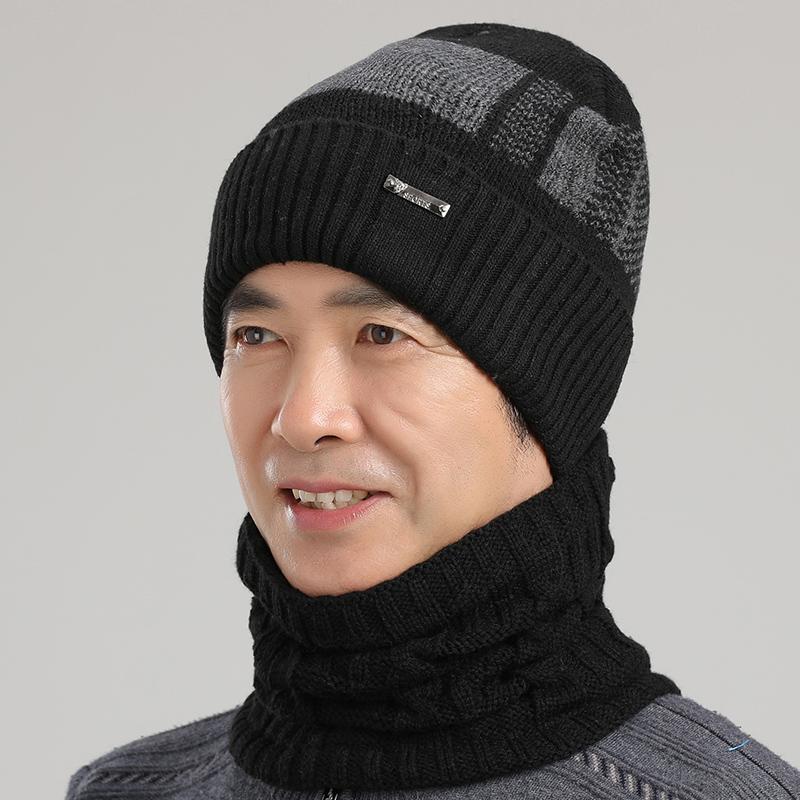 老年人帽子男冬季保暖围脖加绒帽