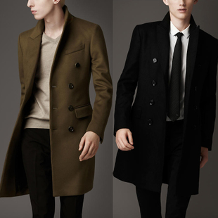 15 fall and winter cashmere wool blend gentleman impression of England men s business casual Korean version of the double breasted coat Slim