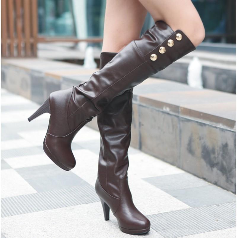 2015 женщин сапоги ~ сексуальные ноги заклепки сапоги колено сапоги размер 40-48 малый размер 32 33