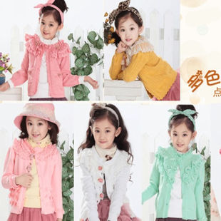 2015 autumn big virgin girls cardigan sweater jacket lace cotton knit baby sweater knit cardigan