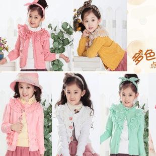 2015秋季中大童女童开衫毛衣外套蕾丝纯棉针织衫宝宝针织毛衣开衫