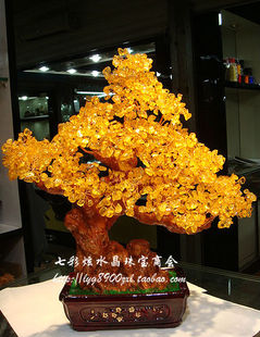 Genuine natural yellow crystal tree crystal tree Pachira cash cow Lucky Queen Decoration town house multicolor