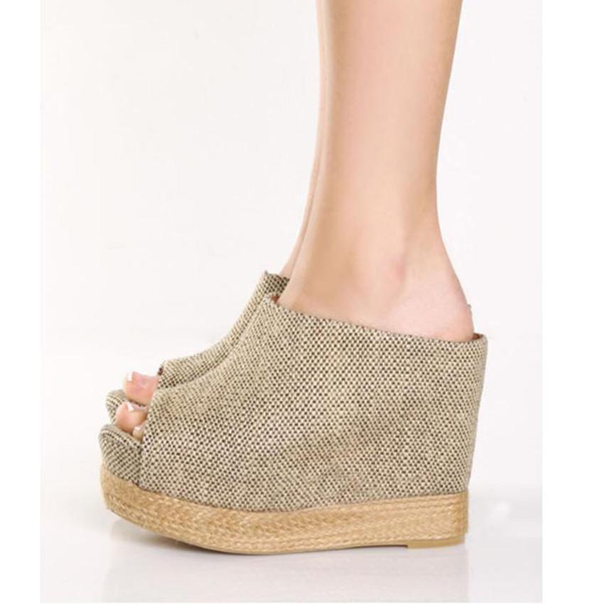 Специальное предложение супер высокой пятки платформы клин сандалии толстой подошве белья в рыба рот обувь летние стили высокие сандалии
