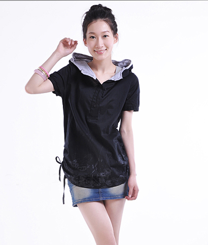 韩版新款大码女装胖mm 衬衫双层帽个性印花套头短袖XXXL双色LC102