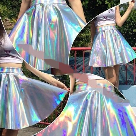 Великобритания BLK ASO * S Harajuku UNIF лазерная оптическая застежка-молния телок КЕРА талии пушистый юбка