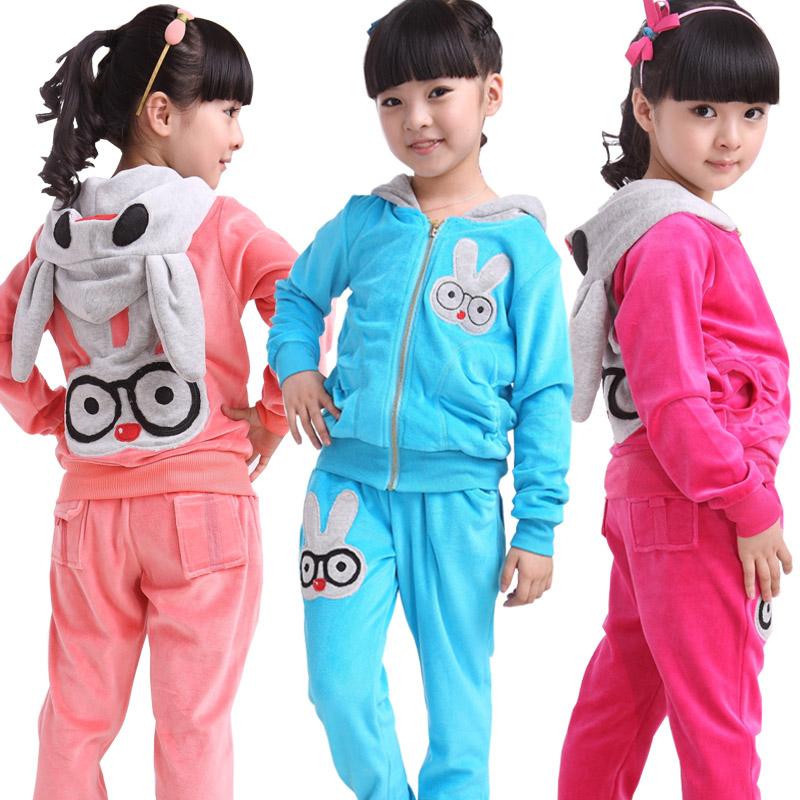 Распродажа девочек осень 2016 детей с Корейский костюм хлопка бархатный двухсекционный мягкий