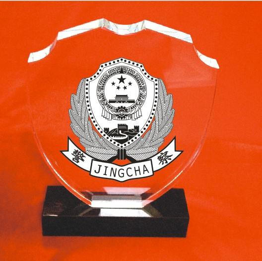 Crystal medal, police shield, veterans souvenir, high grade police badge can be engraved with photos for free