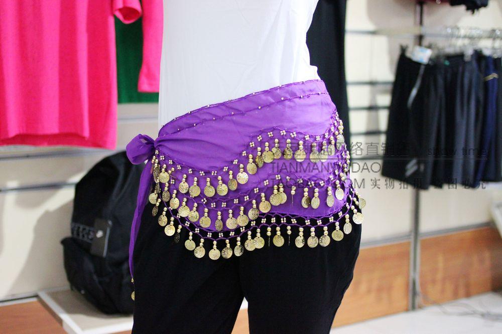 128片金币肚皮舞腰链/肚皮舞服饰/肚皮舞腰铃 深紫色印度舞服装
