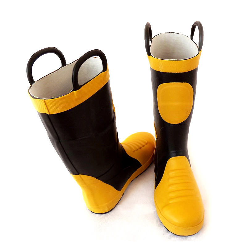 02 fire protection boot strap steel plate high tube boots rescue Boots Steel Baotou anti puncture anti smashing rubber rain boots