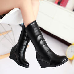 2015 winter boots with high heels in the new Europe and the decorative sleeve wind wedges boots zipper biker boots women