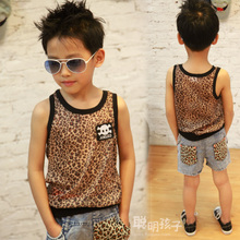 Male children's wear the new 2015 summer wear han edition fresh baby children's clothing vest leopard print cartoon skulls children.