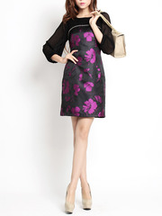 Then blooming spring ~ Shoppe quality satin lashes metal chain lace floral chiffon Bell sleeve dress