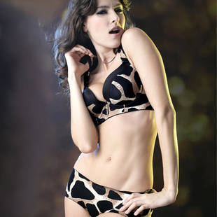 Ai Muni genuine special underwear sexy leopard halter bra gather adjustable counter female official flagship store