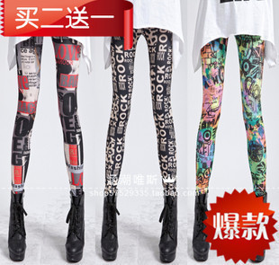 11 new European and American graffiti leggings nine female stretch leggings autumn and winter outer wear color printing significantly thin pants