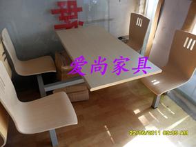 四人连体肯德基钢木快餐桌快餐椅