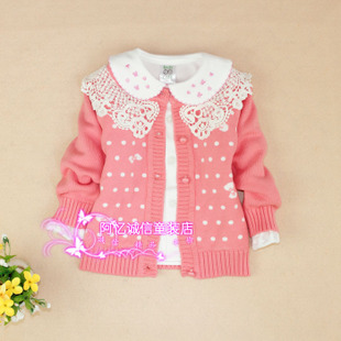 Full Cotton Girls casual round neck sweater children sweater dot baby new baby cardigan jacket
