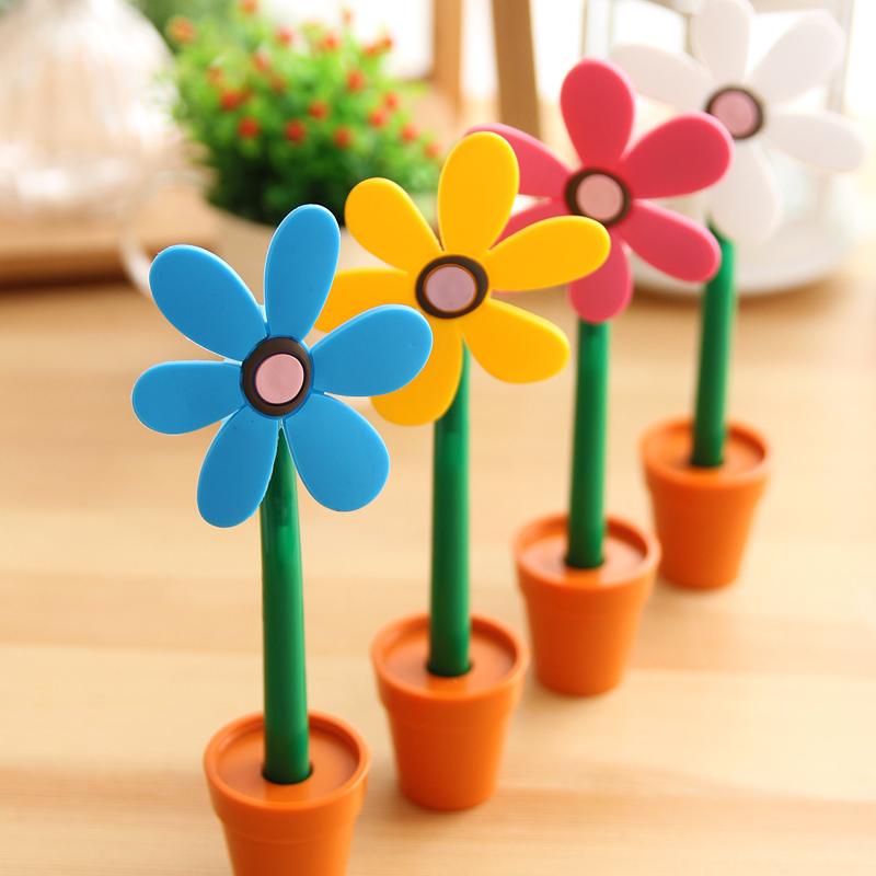 创意文具太阳花朵笔 软胶盆栽圆珠笔 卡通可爱学生奖品礼物