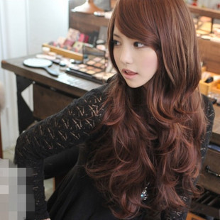Oblique bangs long hair wig girls round face and short hair fluffy new bangs handsome jiafa