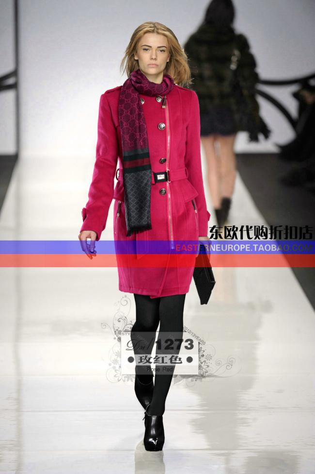 2012欧美秋冬女装新品GUC双排扣军装修身大衣赠围巾