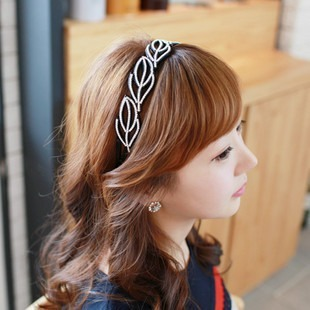 Korea imported authentic hair hoop leaf shaped diamond full diamond diamond toothed brimmed headband hairpin hair jewelry