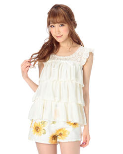 2248 Japan liz lisa three dimensional lines shoulders hollow flower multilayer chiffon vest