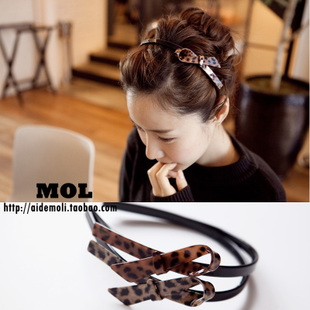 South Korean imports of hair accessories Aznavour AZ fashion leopard Ribbon butterfly knot hair band headband