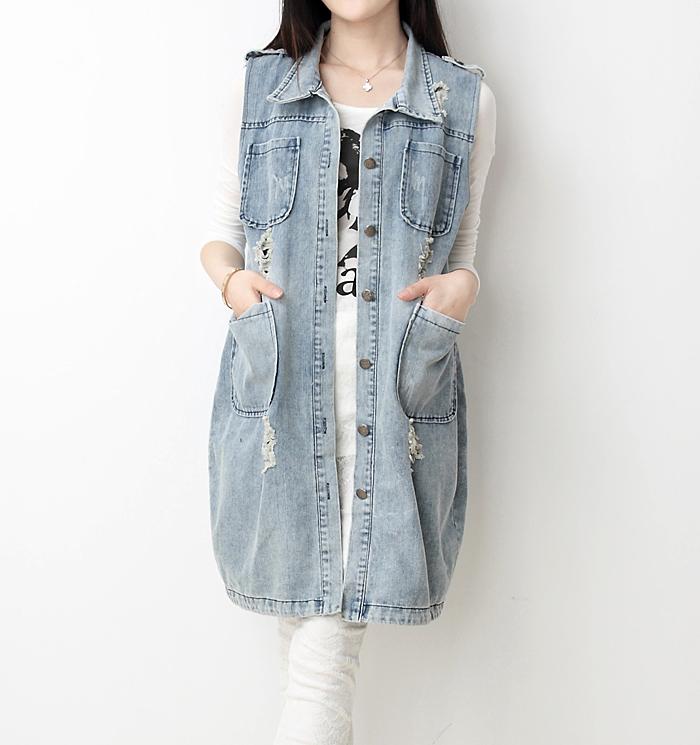 Долго без рукавов джинсовой жилет жилет жилет кардиган куртка верхней женской корейской версии весной и летом в Европе и больших приливов и летом