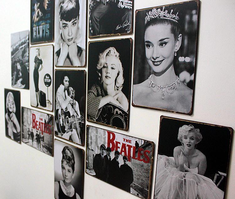 欧美复古做旧流行装饰明星女男星赫本梦露酒吧咖啡厅墙饰铁皮画