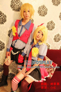 cosplay anime vocaloid Kagamine Twins original amusement park cos clothes (sister) Custom