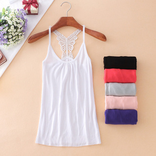 2015 Korean version of the new spring and summer bow sling back openwork crochet knit vest bottoming small halter top