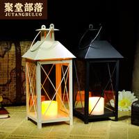 聚堂部落 浪漫溫馨復古歐式燭臺 婚慶家居裝飾 鐵藝電子蠟燭燭臺