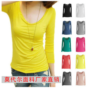 Spring and autumn new long sleeved shirt female Korean cute candy colored round neck t shirt shirt