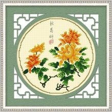 Precise printing K100 cross embroider quality goods monopoly Chrysanthemum patterns Four gentleman's 35042 qiu ju yan
