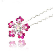 L048 good jewelry popular u-shaped hair clip hair jewelry rhinestone elegant snowflake small hairpin