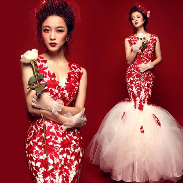 Сексуальный глубокий v шеи красный хвост задней кружева Принцесса невесты Свадебные платья 2015 зимние новые 1160