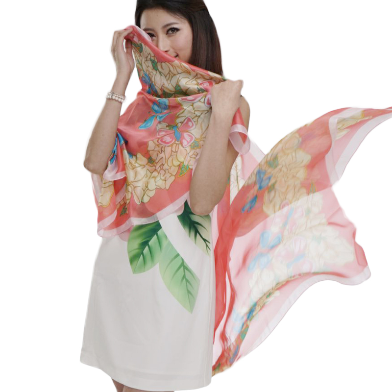 Package: Fanny Li, spring and winter 2018 super large butterfly flower print sun protection long scarf shawl