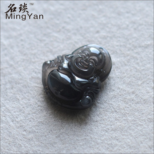 Name Yan produced classic style ice kind of obsidian pendant Maitreya people looked like a small Buddha