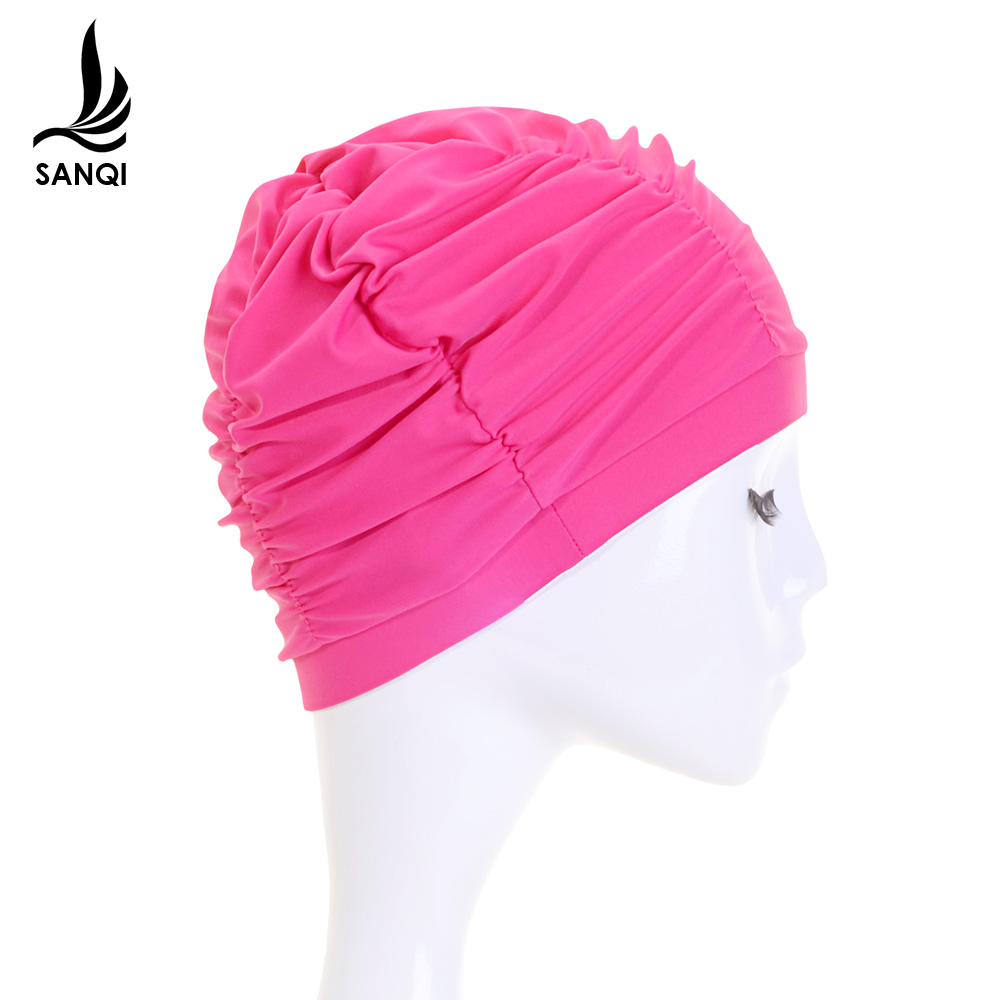 三奇新款游泳帽布女士款大号长发护耳舒适时尚成人装备泡温泉用品