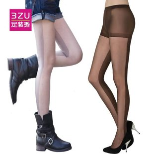 3ZU foot fashion show Spring velvet stockings 30D stockings around the asymmetric stitching was thin pantyhose female