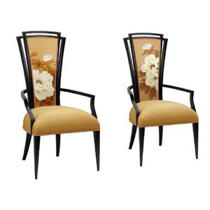 新中式家具 餐椅 餐厅扶手牡丹休闲椅 水曲柳实木布艺餐椅 书椅