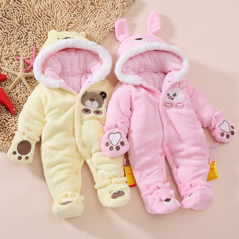 Девочки ребенка зимой толстые медведь животных onesies baby baby новорожденных одежда фрак ходить Платье