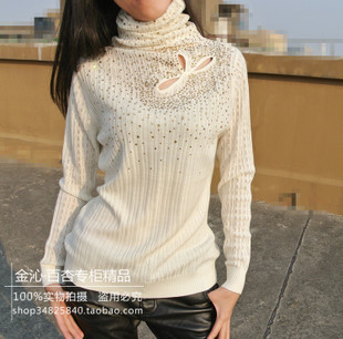 With one hundred apricot with factory Instant and counter genuine pierced Tencel stretch wool beige sweater Slim