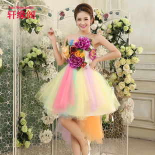 2015 new bridesmaid dress color skirt dance performances dress evening stage show little skirt spring and summer female