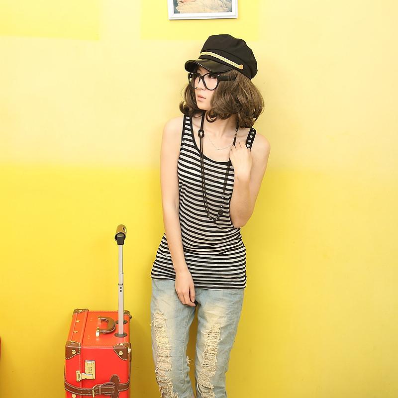 2012新品韩版女装百搭修身实拍长款条纹吊带工字背心 女 长款