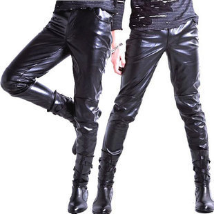 Korean Version Of The Trend Of Male Feet Trousers Slim Leather Pants Tight Leather Pants Waist Mens Leather Motorcycle Pants Pants Male Korean