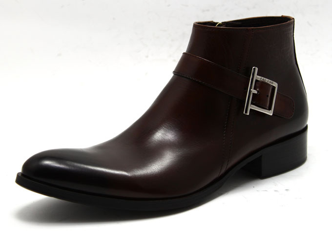 New style leather boots fashion Short Boots Mens pointed buckle inner zipper mens shoes business high top shoes fashion