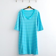 In the foreign trade cotton blue stripes round collar sleeve leisurewear nightgown Large size women's summer wear chest. 96-114
