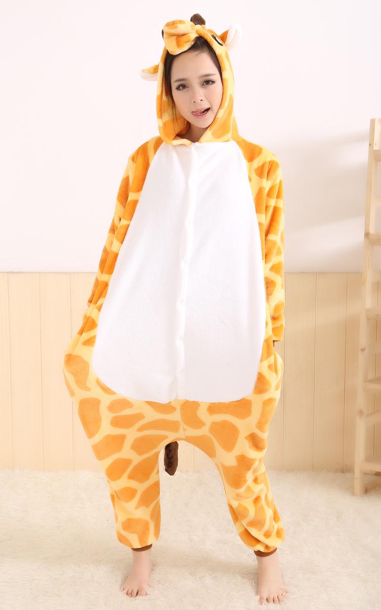 Взрослый ребенок горшок фланелевой одежда для осень/зима удовольствие с один кусок пижама мультфильм жираф производительности одежда для почты